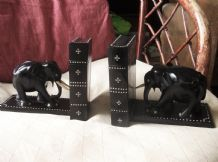 PAIR OF SOLID EBONY OLD INLAID ELEPHANT BOOKENDS CEYLON SECRET COMPARTMENT 6.5""